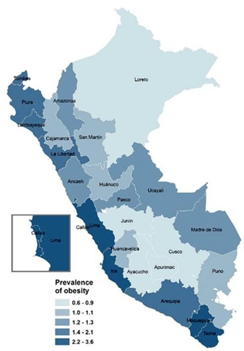 Prevalencia De Obesidad En Menores De Cinco Anos En Peru Segun Sexo Y Region 2015